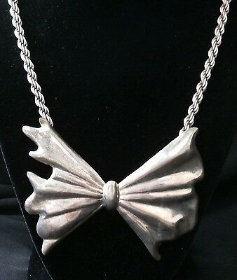 Beautiful Vintage Sterling Silver Ribbon Heavy Necklace. Make offer! #g39