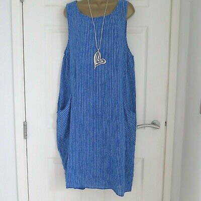 ae7c64dfd9 LADIES MADE IN ITALY BLUE LAGENLOOK COTTON PINAFORE DRESS approx size 14 16  18