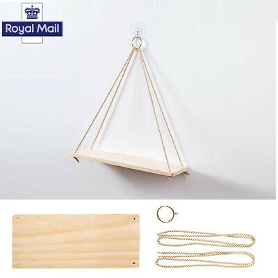 Home 2P Rustic Solid Wood Rope Hanging Wall Shelf Vintage Storage Floating Shelf