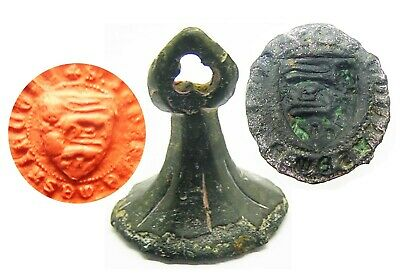 "14th century A.D. Medieval Knights Armorial Seal Matrice of ""two lions passant"""