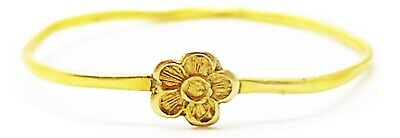 Nice 15th - 16th century Medieval gold finger ring rose shaped bezel size 7 3/4