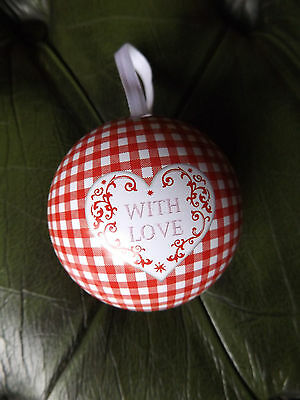 Gingham Pattern Gift Special Occasions Bauble Heart  WITH LOVE