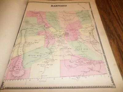 Original 1869 Map Town Of Barnard Vermont Windsor County Vt