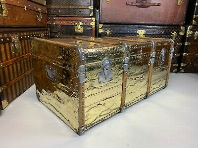 Stunning French Antique Brass Steamer Trunk