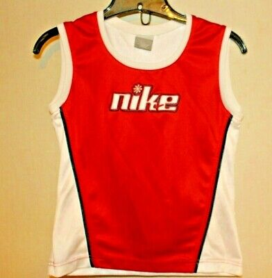 NIKE Girls Size L 14 Red and White Tank Top 100% Polyester Knit Sleeveless L 14