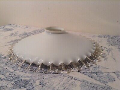 French Vintage White Opaline Glass Pie Crust Coolie Light Shade (1748)