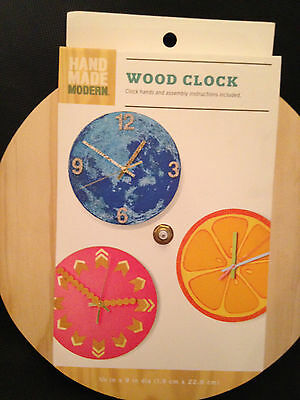 "Wood Clock Kit by Handmade Modern Co - 9"" Round!  Hands & Motor Included, New!"