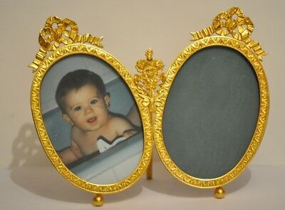 Superb Rare Vintage French Signed Dior Gold Double Photo Frame In Sigled Box