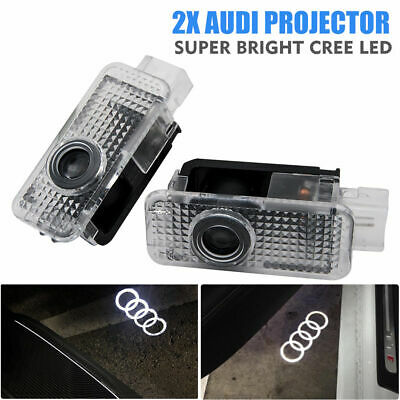 2x Fit Audi Cree LED Projector Car Door Light Puddle Courtesy LOGO Entring lamp