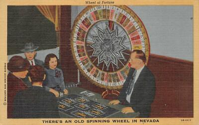 WHEEL OF FORTUNE SPINNING WHEEL IN NEVADA CASINO POSTCARD (1940s)