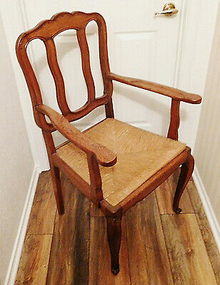 Vtg French Country Carved Wood Oak Arm Chair Claw Foot Old Woven Straw Cane Seat