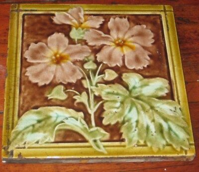 Period Vintage English Raised Majolica Flowers & Leaves Tile  Very Pretty