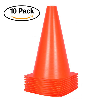 10 Pack of Traffic Cones for Kids – 9 inch Orange Field Marker Cones for Outdoor