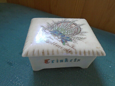 Lucky White Heather From Babbacombe Lustre Trinkets Box - Carlton Crested China