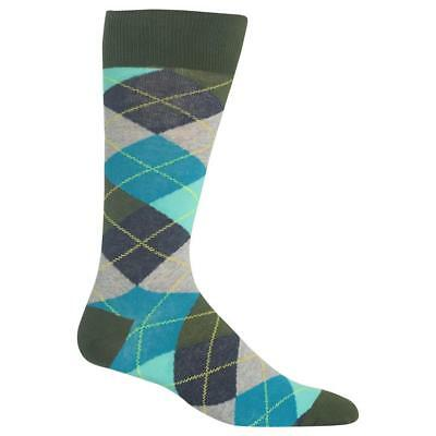 c7161c580c287 Argyle Hot Sox Dress Crew Socks Olive New Men's Size 10-13 Diamonds of  Fashion