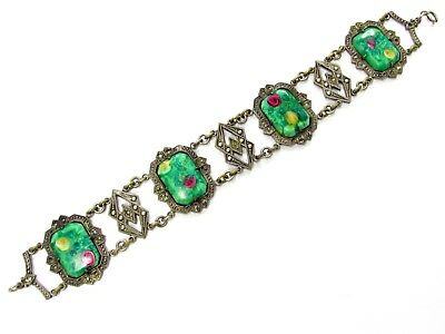 Antique Arts + Crafts Era Stunning Silver Plate Art Glass Marcasite Bracelet