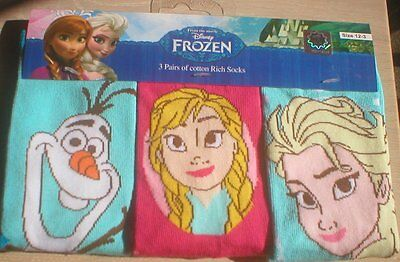 Disney Frozen Girls Socks With Elsa Anna Olaf 3 Pairs/Pack.  Size 12-3.