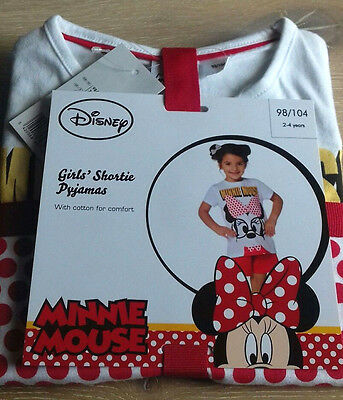 Disney Minnie Mouse Girls Short Pyjamas/Pj's  2-4 Years  Tested Quality!!