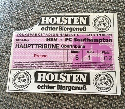 Rare Original Press Ticket 1984-85 Hsv Hamburg V Southampton Uefa Cup 1St Round