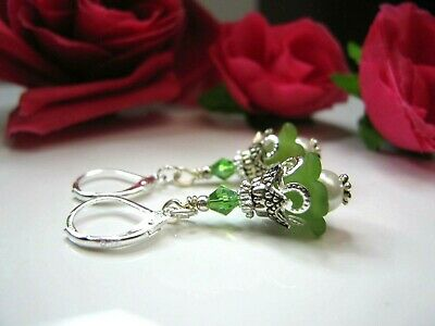 Bell Flower Earrings Small Tulip TEA PARTY GREEN Dangle Lucite leverback