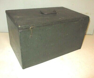 Antique Wood Tackle Box Primitive  Jewelry Machinist Tool Box Vintage Two Trays