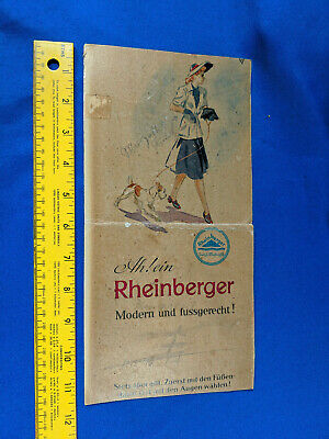 Antique Art Deco Cardboard Advertising Card Sign Rheinberger Pinup Girl Dog