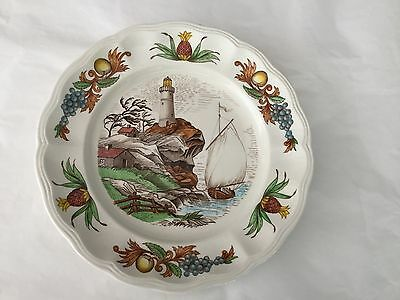 """Copeland Spode FAIR HAVEN salad plate 7 5/8"""" lighthouse and sailboat"""