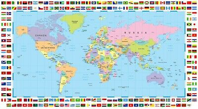 "New Map of the World with Different Country Flags 50"" x 40"""