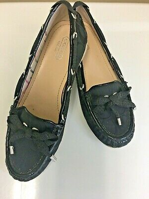 262b92dece2 COACH Carisa Black Loafers Slip On Flats Boat Shoes Size 7.5 Logo Print