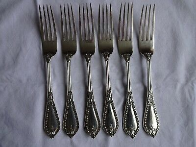 "6 x Art Deco Silver Plated EPNS A1 Walker & Hall,Sheffield, 8.5"" Dinner Forks"