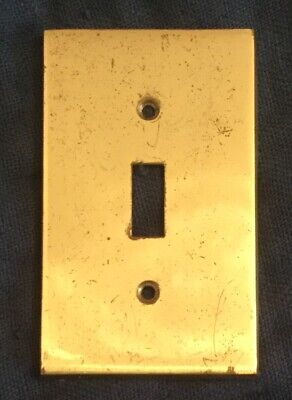 Vtg solid brass Wall Switch PLATE nice patina polished minimalist Italy GRA