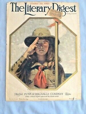 RARE 1921 Literary Digest COVER, Uncle Sam's Assets: A Girl Scout! For Framing G