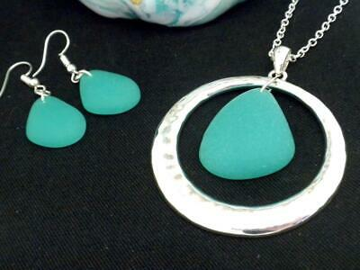 Beach Sea Glass Pendant Women Necklace Set Silver Plated New