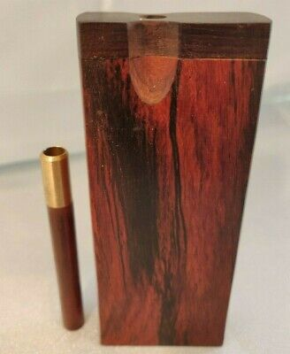 Rosewood Dugout and Brass One Hitter with Rosewood Adornment Wooden Chillum