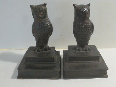 Vintage Or Antique Heavy Cast Metal Owl And Books Bookends