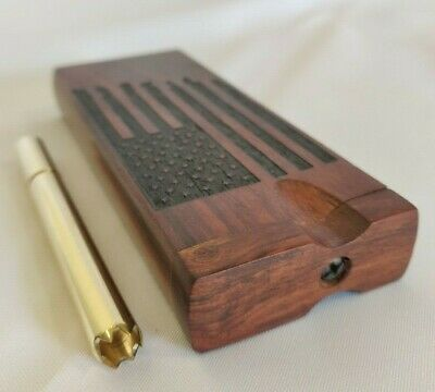 AMERICAN FLAG Rosewood Dugout w/ Brass One Hitter Pipe w/ Grinder Tip, Stash Box
