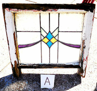 24x20 Old Vtg Art Nouveau Leaded Antique Stained Glass Window Yellow Purple Blue