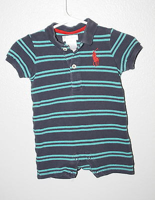 060098c36 WOW~ RALPH LAUREN sz 3 mth BOYS SHORTALLS OUTFIT TUQUOISE STRIPE RED BIG  PONY