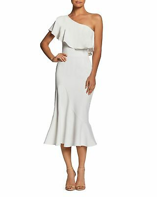 DRESS the POPULATION Off White Raquel One Shoulder Trumpet Bodycon Midi L 12/14