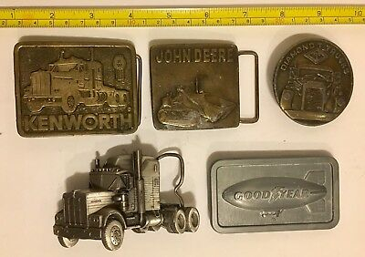 4 Trucking Belt Buckles And 1 Good year Blimp Buckle Nice Vintage Lot
