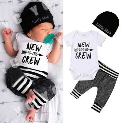 UK Stock Infant Newborn Baby Boy Romper+Pants Outfit Clothes Bodysuit Playsuit