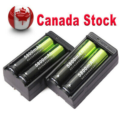 4X 18650 5800mAh Rechargeable Battery Li-ion 3.7V Batteries & 2X Smart Chargers