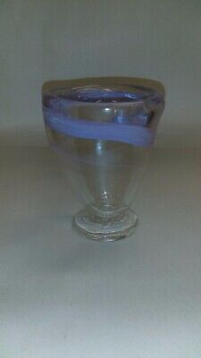 Vintage hand blown Light purple swirl and clear art glass rough pontil