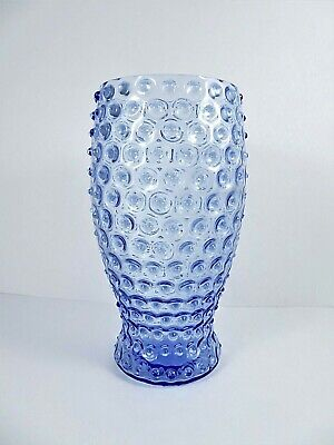 Sky Blue Glass Hobnail Bouquet Vase Vintage Wheel Cut 8.25 Inches Tall