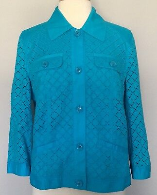 Chico's Embroidered Eyelet Jean Style Jacket Turquoise Blue 3/4 Sleeves Sz 2 L 1