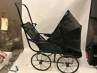 ANTIQUE Baby Buggy CARRIAGE Children's BLACK For Restoration VICTORIAN