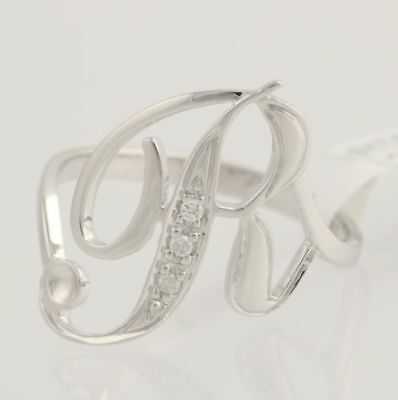 18k White Gold Women/'s Size 5 1//2 Genuine .03ctw NEW Initial D Cocktail Ring