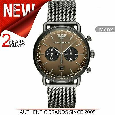 Emporio Armani Aviator Men's Watch AR11141¦Tachy Chrono Brown Dial¦Mesh Strap