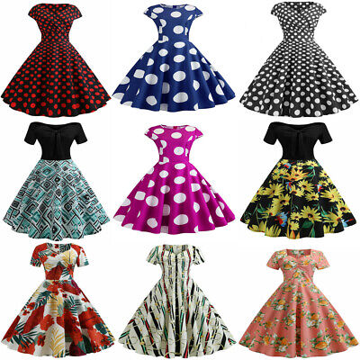Women's Vintage 1950s Polka Dot Rockabilly Evening Prom Pleated Swing Mini Dress