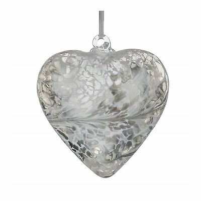 Sienna Glass Pastel Silver 8cm Friendship Heart Hanging Hand Crafted Glass Gift